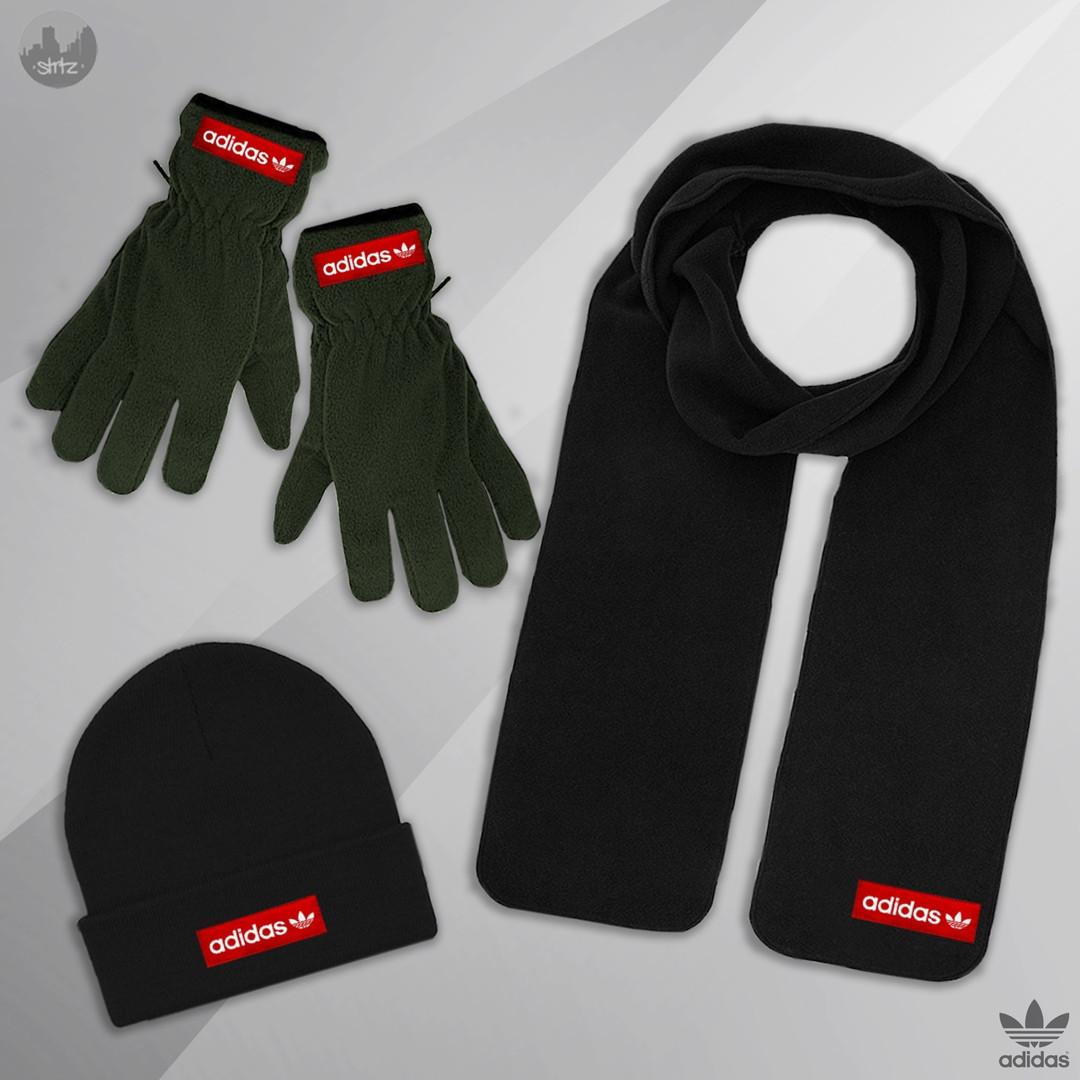 Мужская шапка шарф и перчатки Адидас, отличного качества