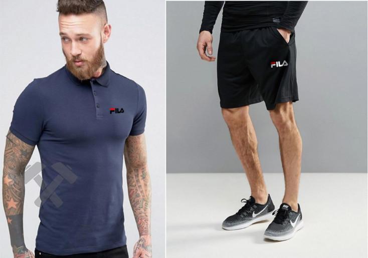 Мужская тениска поло Фила, мужская футболка и шорты Fila