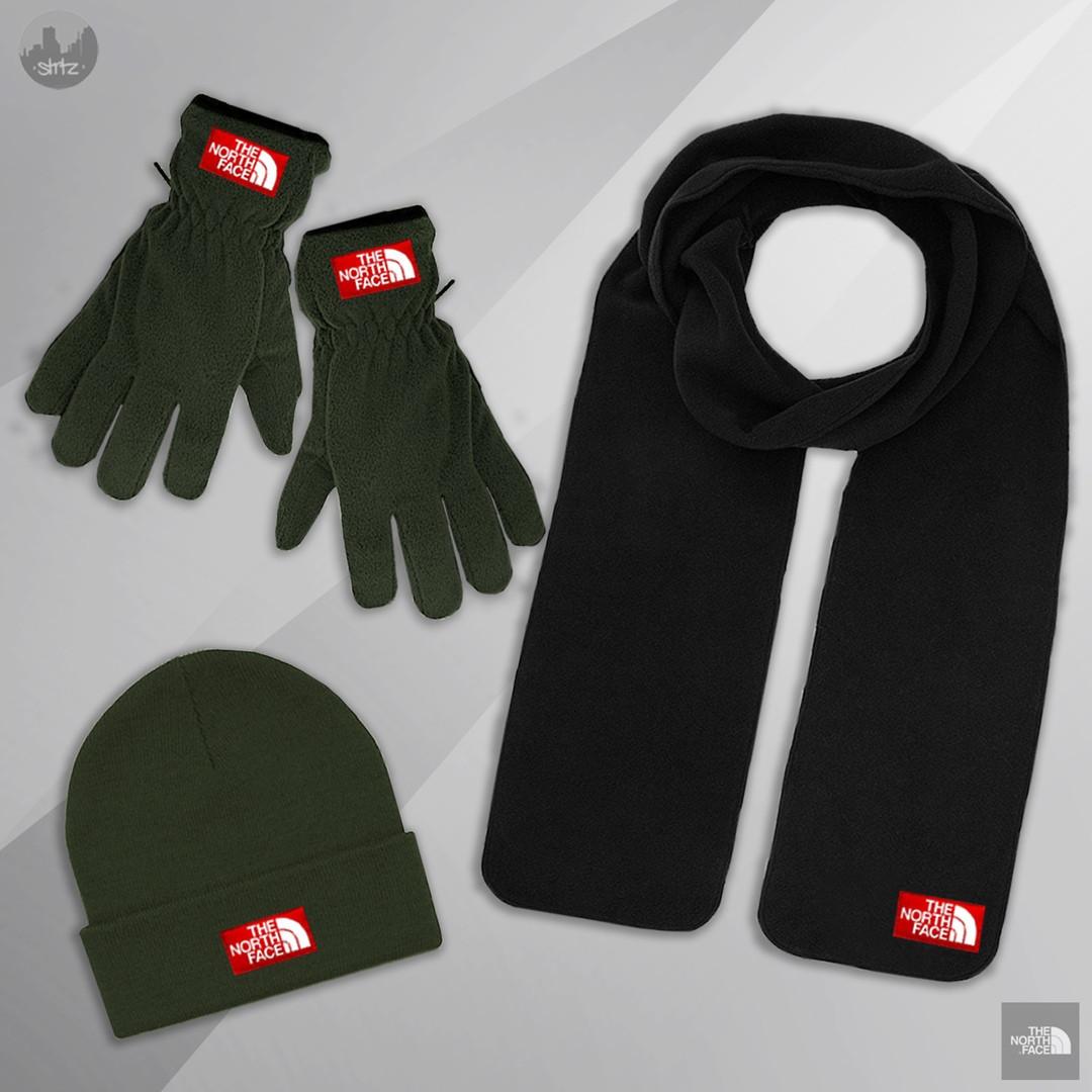 Мужская шапка шарф и перчатки Зе норд фейс, отличного качества