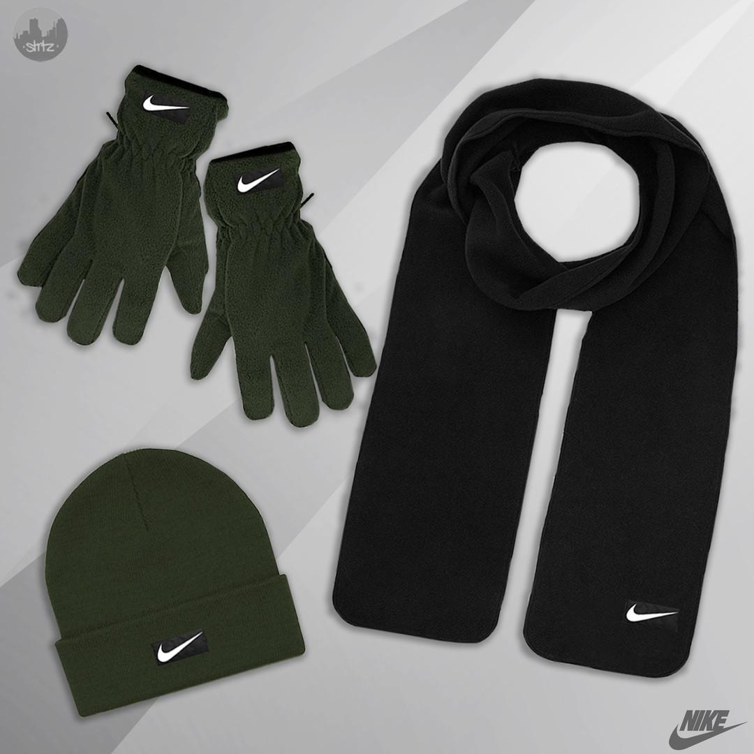Мужская шапка шарф и перчатки Найк, отличного качества