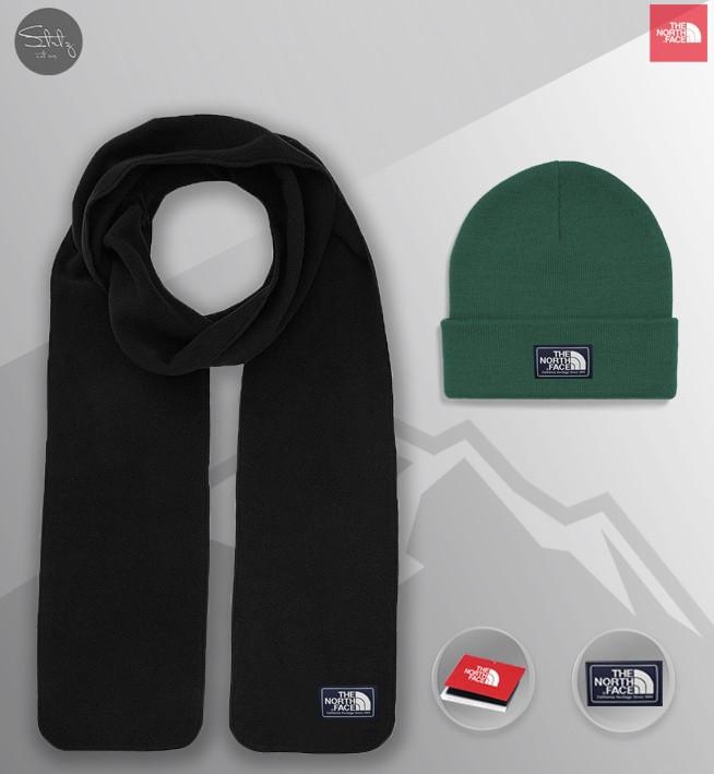 Мужской теплый комплект шапка и шарф Зе норд фейс, отличного качества