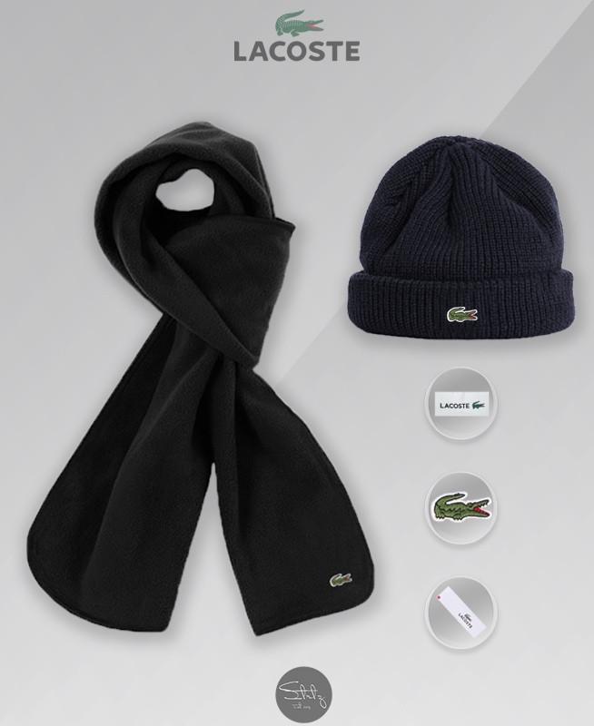 Мужской теплый комплект шапка и шарф Лакост, отличного качества