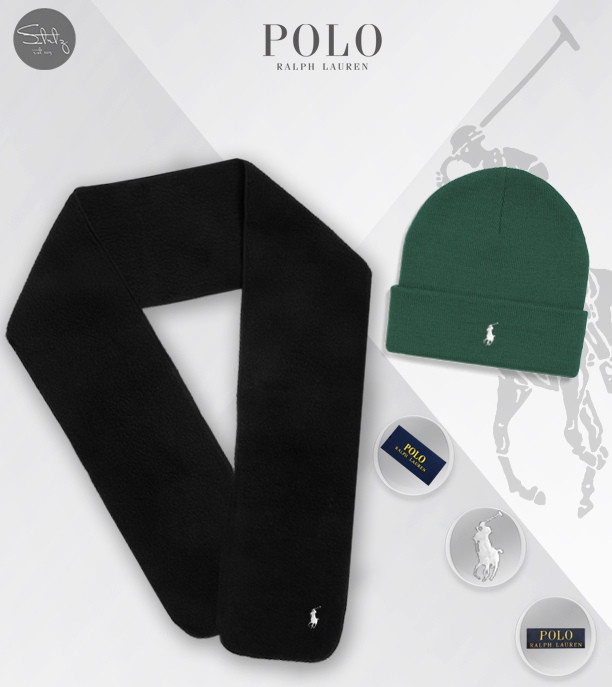 Мужской теплый комплект шапка и шарф Ральф Лоурен, отличного качества
