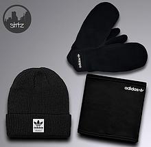 Мужской теплый комплект шапка перчатки и бафф Адидас, отличного качества
