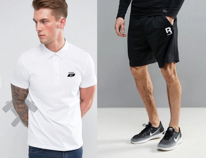 Мужская тениска поло Рибок, мужская футболка и шорты Reebok