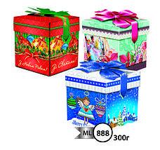 Упаковка праздничная новогодняя из металлизированного картона Кубик с бантом, на вес до 300г от 1 штуки, фото 2
