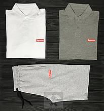 Мужской комплект два поло тенниски и шорты Суприм, футболка и шорты Supreme