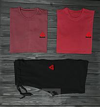 Мужской комплект две футболки и шорты Рибок, материал трикотаж