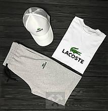 Комплект тройка кепка шорты и футболка Лакост, для мужчин