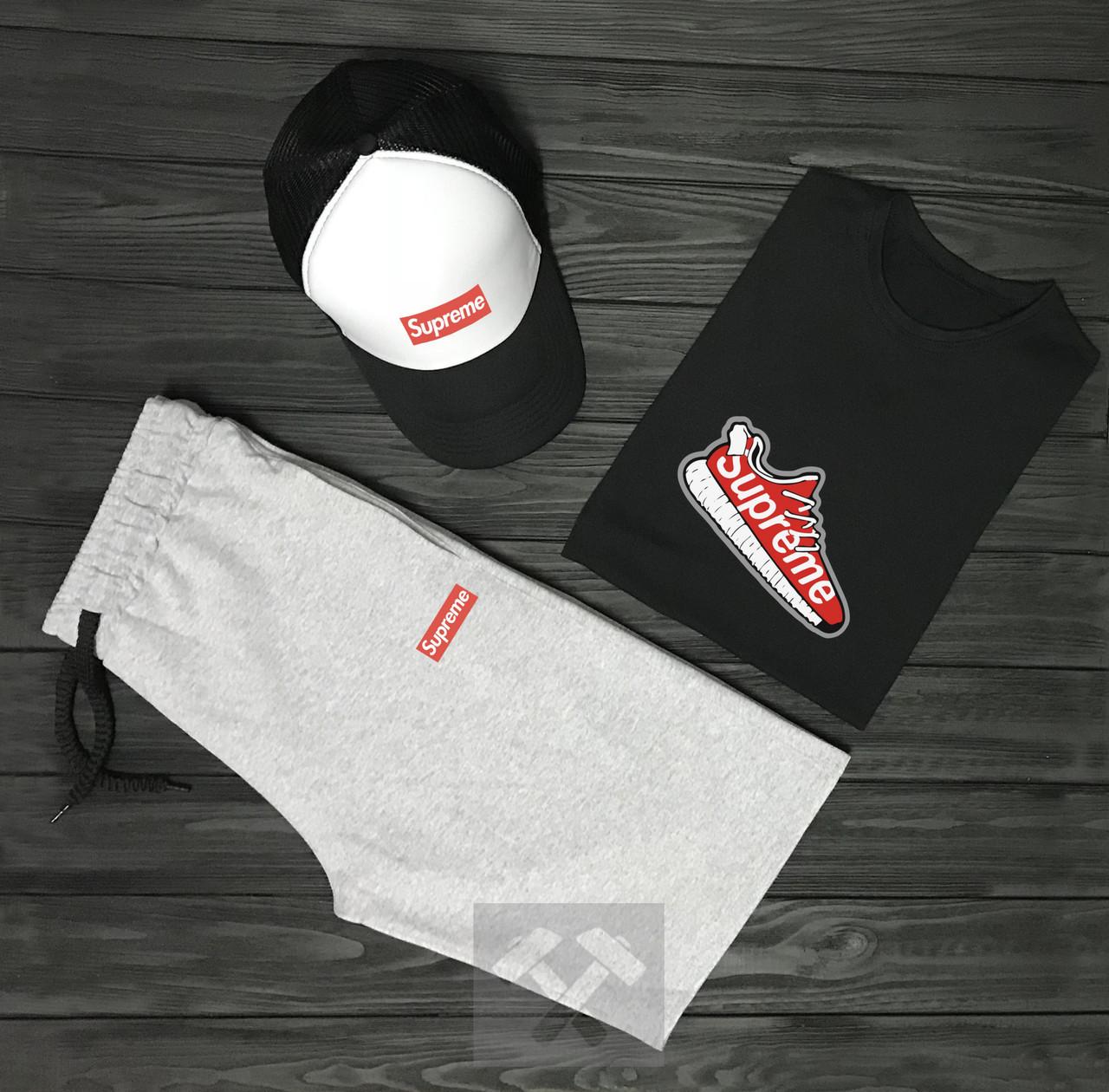 Комплект тройка кепка шорты и футболка Суприм, для мужчин