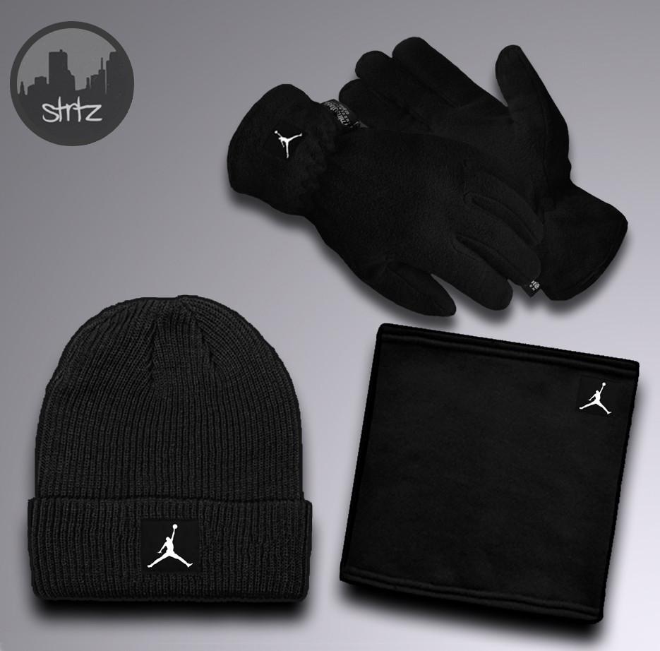 Мужской теплый комплект шапка перчатки и бафф Джордан, отличного качества