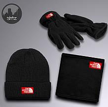 Мужской теплый комплект шапка перчатки и бафф Зе норд фейс, отличного качества