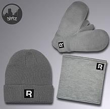 Мужской теплый комплект шапка перчатки и бафф Рибок, отличного качества