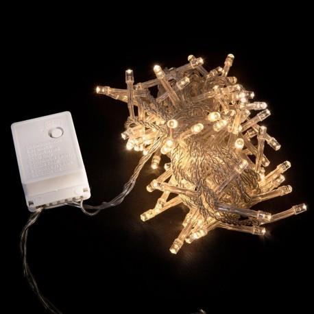 Гирлянда нить светодиодная 100 LED теплый белый цвет