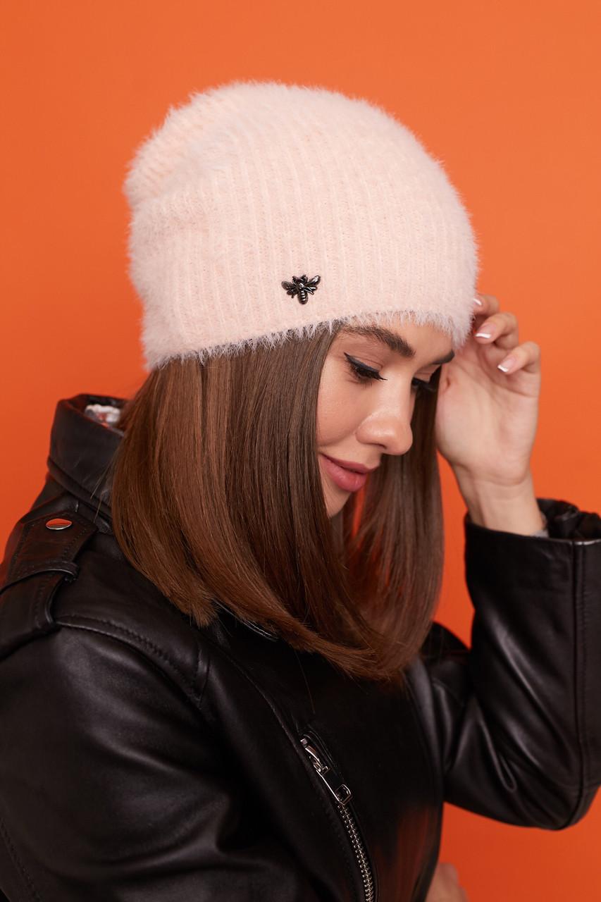 Женская вязаная шапка - лопата с брошкой утепленная флисом 61sl275