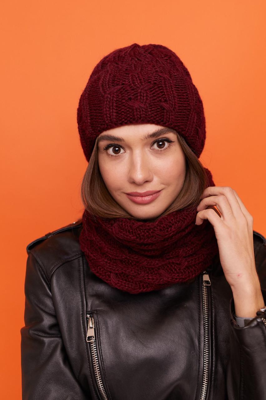 Женская вязаный набор : шапка на флисе и шарф - хомут из акрила 61sl276