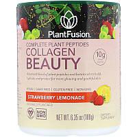 PlantFusion, Комплекс с растительными пептидами, Collagen Beauty, клубничный лимонад, 180 г