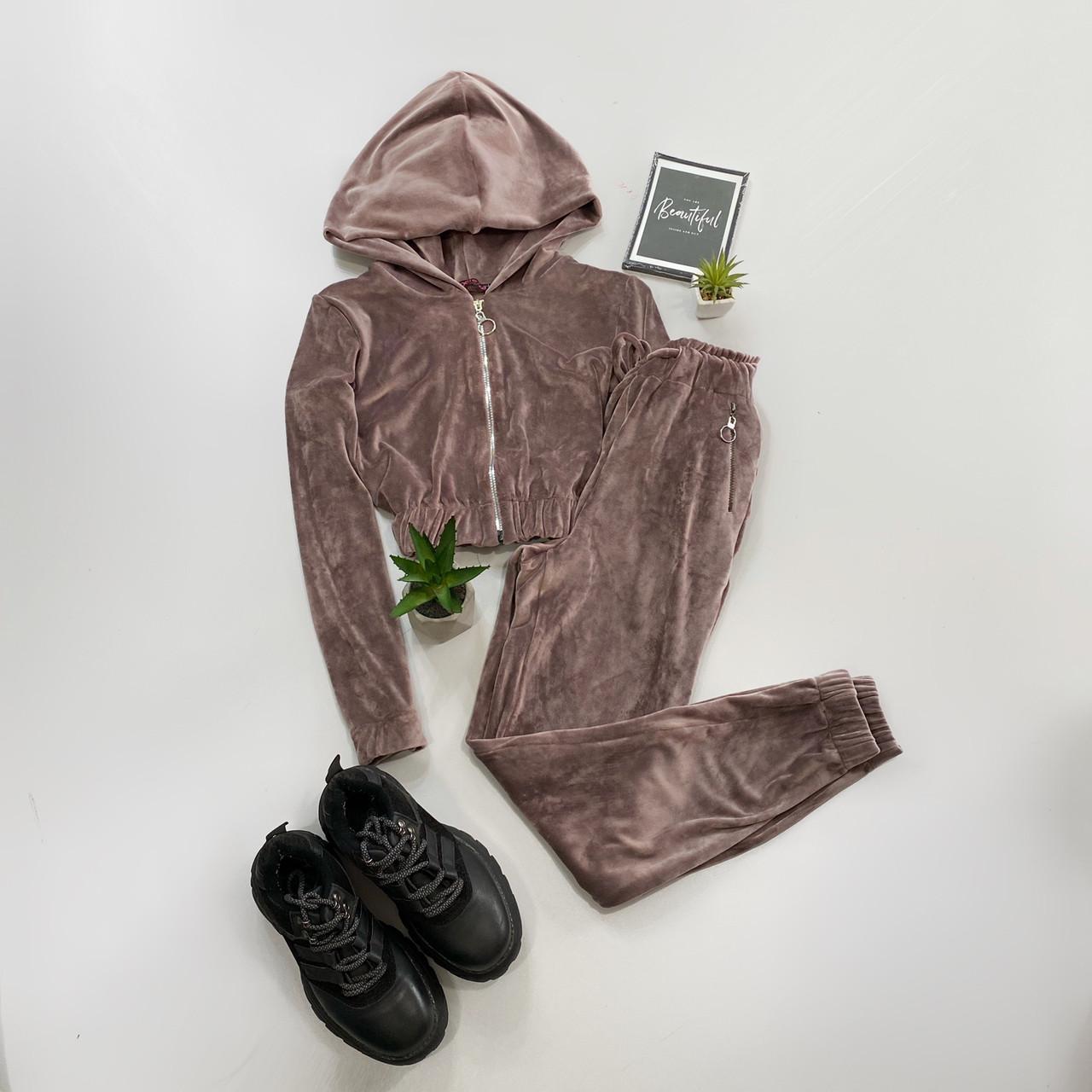Женский мягкий велюровый костюм двойка с укороченной кофтой на молнии 66ks1448Е