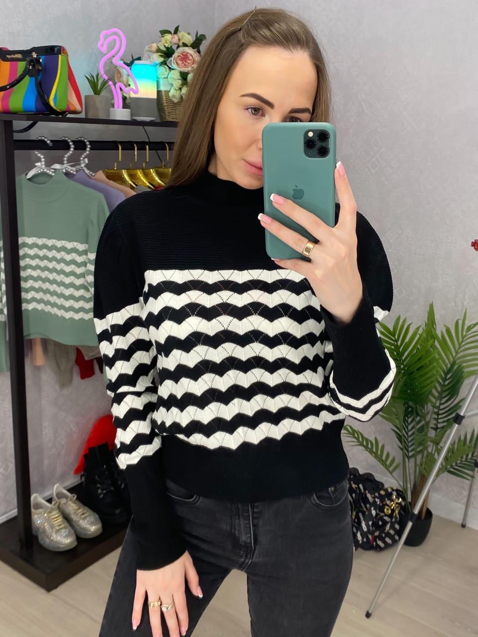 Женский полосатый свитер из вязки двухцветный (р. 42-44) 33dm954