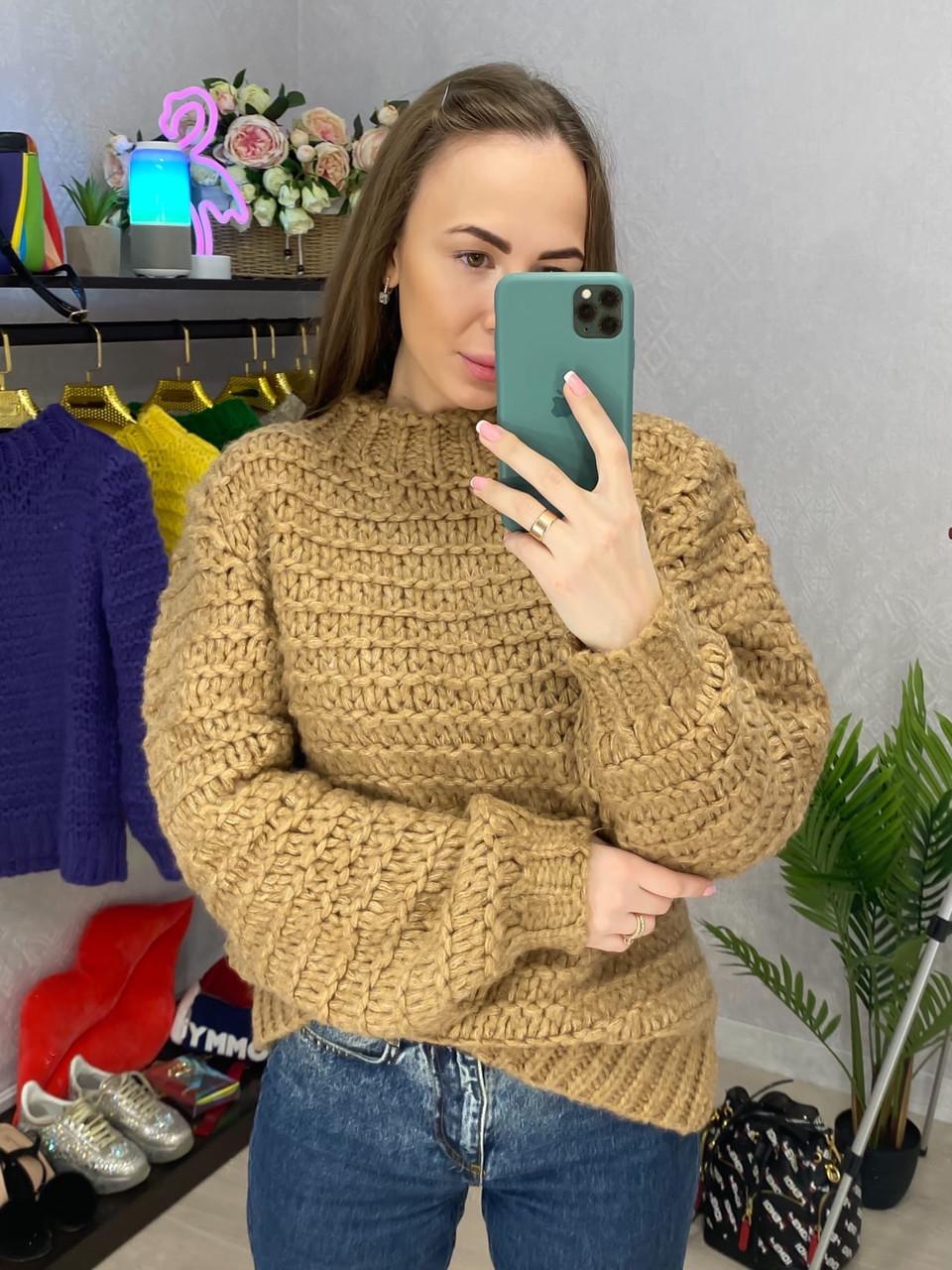 Женский нарядный свитер из крупной вязки, свободного фасона (р. 42-44) 33dm956