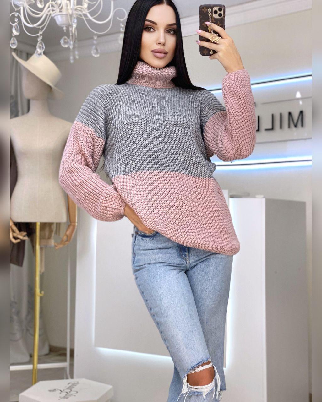 Женский теплый двухцветный кашемировый свитер в высоким воротником (р. 42-46) 20dm964
