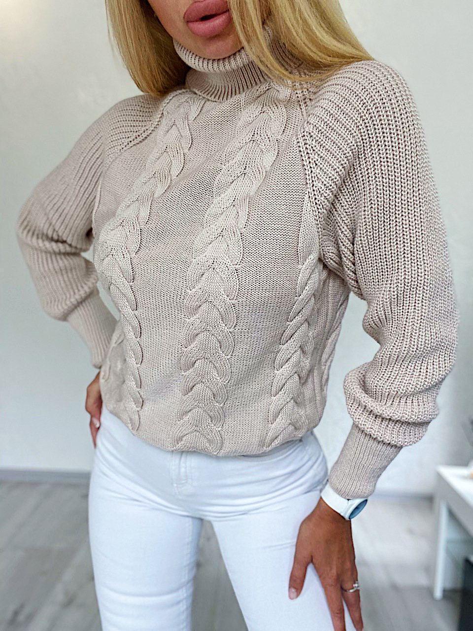Женский вязаный свитер с объемным рукавом регланом и узором - косами (р. 42-46) 4dm965