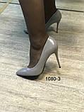 Туфлі жіночі класичні  сірі під шкіру, фото 3