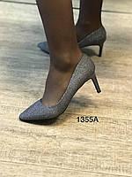 Женские туфли,серебристые темные,каблук 8см, фото 1