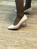 Жіночі туфлі,світлий беж каблук 6см, фото 2