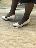 Жіночі туфлі,світлий беж каблук 6см, фото 6