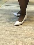 Жіночі туфлі,світлий беж каблук 6см, фото 4