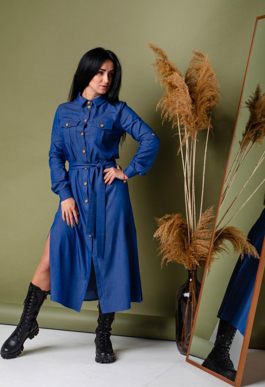 Джинсовое женское платье рубашка