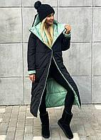 Женское длинное двухстороннее зимнее пальто, женский двусторонний пуховик