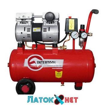 Компрессор 24л 8атм 145л/мин 220В PT-0022 Intertool 1.1кВт 1.5HP малошум., безмасл., 2 цил.