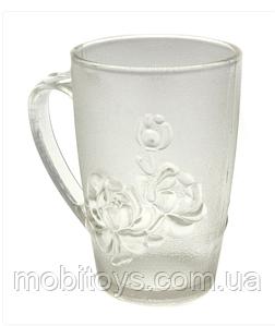 Чашка прозрачная матовая №963 роза стекло 250мл. (48)