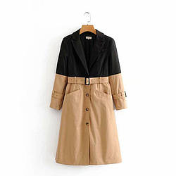Плащ женский из контрастной ткани Horizon (без пояса) Berni Fashion (S) Черный