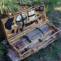 """Набор шампуров из нержавейки в деревянном кейсе ручной работы """"Путешественник"""""""