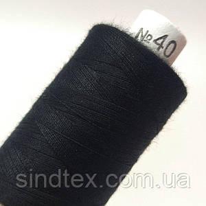 Нитка черная 40/2 100% полиэстер 400м (УТОС-Ч-02)