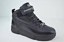 Детские и подростковые зимние кожаные ботинки черные Monster BAS