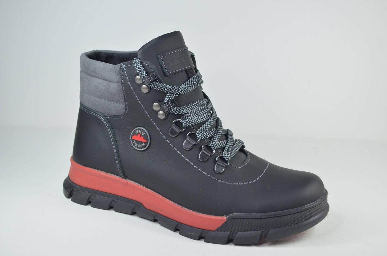 Підліткові зимові шкіряні черевики чорні з червоним Sky town 401