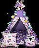 Вигвам Хатка комплект Бонбон Совы фиолетовый с подушками