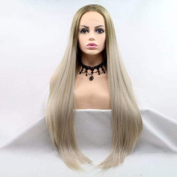 Длинный прямой парик в цвете пепельный блонд