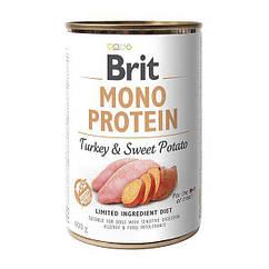 Влажный корм для собак Brit Mono Protein Turkey & Sweet Potato 400 г (индейка и батата)