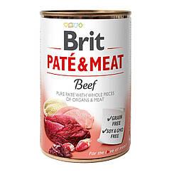 Влажный корм для собак Brit Pate & Meat Beef 400 г (говядина и индейка)