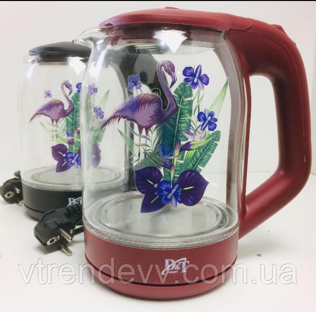 Чайник Domotec стеклянный с LED подсветкой 1850W 2L DT2841