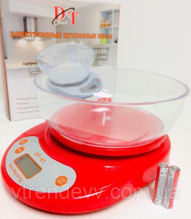 Ваги кухонні електронні з чашею Max.5kg d=1g DT-01