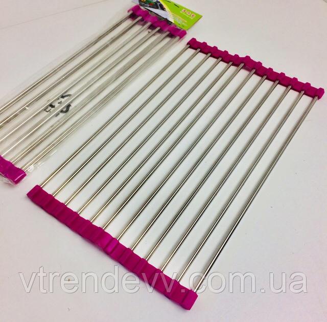 Сушилка решетка на раковину 7381 розовая