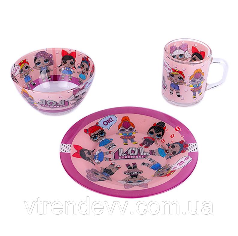 Детский набор посуды из стекла Лол L.O.L 3 в 1