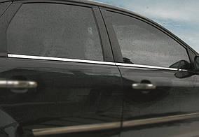 Ford Focus II 2005-2008 гг. Наружняя окантовка стекол (4 шт, нерж) OmsaLine - Итальянская нержавейка