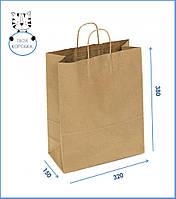 Крафт-пакет паперовий з ручками коричневий 320x150x300 Пакет для подарунків одягу для пакування їжі